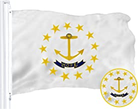 G128 – Rhode Island State Flag | 3x5 feet | Embroidered 210D – Indoor/Outdoor, Vibrant Colors, Brass Grommets, Quality Polyester