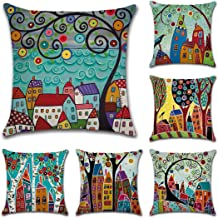 Tebery 6 Pack Cotton Linen Throw Pillow Covers Cases Rustic Vintage House Design Cushion Covers for Sofa,Couch - 18 x 18 Inches