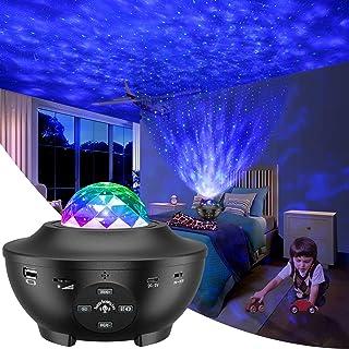 Proyector de Luz Estelar, LED de Luz Nocturna Giratorio, Lámpara de Nocturna Estrellas, 10 Modos Proyector LED Color Repro...