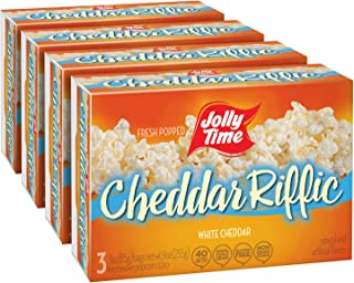 JOLLY TIME Cheddar-Riffic Gourmet White Cheddar Cheese Microwave Popcorn (3-Count Box, Pack of 4)