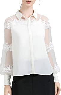 LAIZI Women's Puff Sleeve Embroidery Floral Button Down Shirt Office Work Blouse Shirts Tops (Beige, XL) (White, M)
