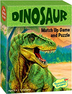 Peaceable Kingdom Dinosaur 24 Card Match Up Memory Game and Floor Puzzle for Kids