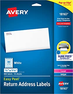 "Avery Address Labels with Sure Feed for Inkjet Printers, 0.5"" x 1.75"", 800 Labels, Permanent Adhesive (18167), White"