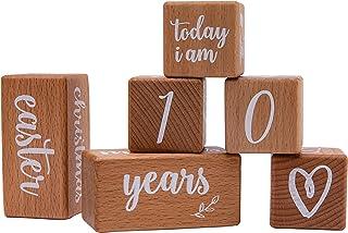 Mamimami Home 6 blocs de grossesse jalon, blocs de bois jalons bébé, accessoires de photographie nouveau-né, idée cadeau p...