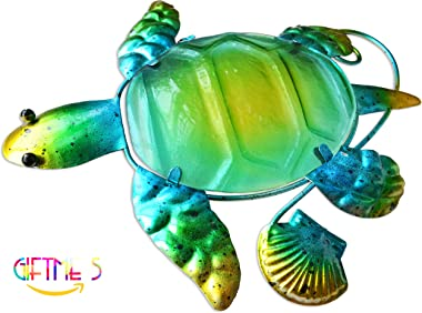 GIFTME 5 Metal Beach Wall Art Decor Set of 3 Metal Seaturtle Fish and Crab with Stained Glass Wall Art for Pool, Patio, Bathr