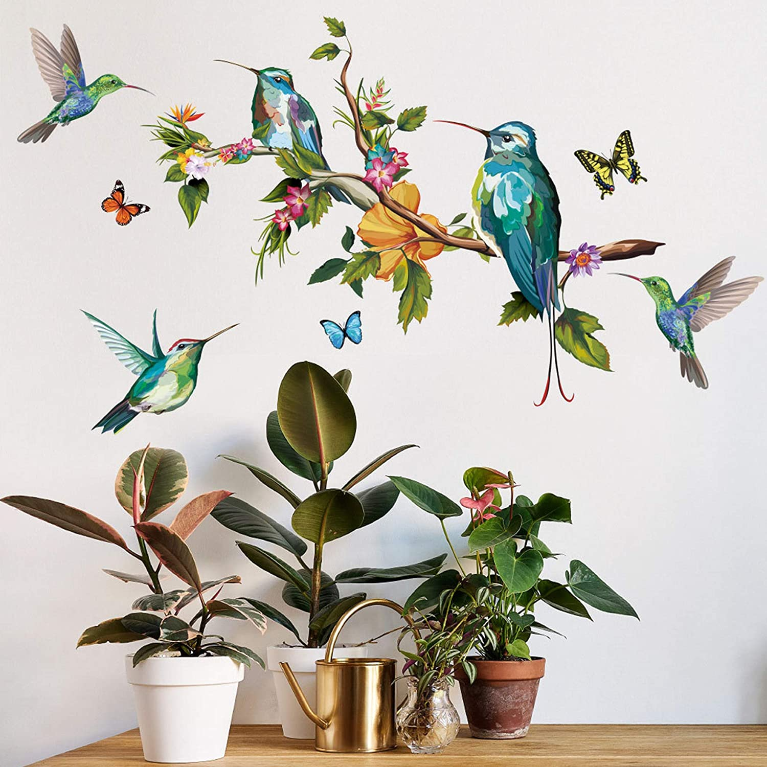 ROFARSO Hummingbird Plants Animals Beautiful Birds Flowers Butterfly Colorful Vinyl Wall Stickers Removable Wall Decals Art Decorations Decor for Bedroom Living Room Murals