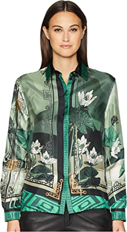 Shirts - Verde + Stampa Button Up Blouse