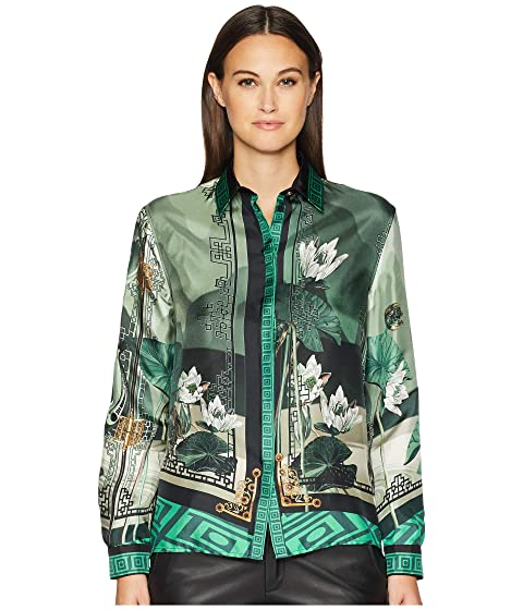 Versace Collection Shirts - Verde + Stampa Button Up Blouse