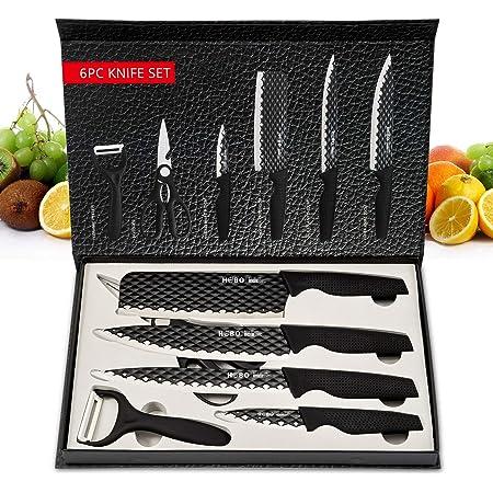 Ensemble de Couteaux, HOBO Ensemble de Couteaux Professionnel 6 pièces en Acier Inoxydable Couteaux, Éplucheur, Couteau D'office, Couteau de Cuisine, Couteau à Trancher, Couteau de Chef et Ciseaux