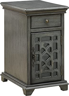Heather Ann Creations Free Standing Single Drawer Distressed Cabinet with Circle Cross Glass Window Inserts Black 30 x 18 W191152-BLK 30 x 18