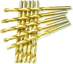 "DRILLFORCE HSS Jobber Length 10 PCS,1/4"" x 4""Titanium Coated Twist Drill Bits, Metal drill, ideal for drilling on mild steel, copper, Aluminum, Zinc alloy etc. Pack In Plastic Bag (1/4)"