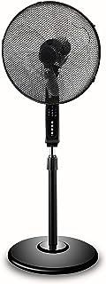 Atelys – Ventilador negro de 40 cm con pie, silencioso, conectado y Wi-Fi, compatible con Apple y Google y pala de 5 ramas transparentes, control por smartphone o Siri.