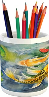Lunarable Koi Fish Pencil Pen Holder, Lillies Marine Life Colorful Watercolor Drawing of Divine Animal, Ceramic Pencil Pen Holder for Desk Office Accessory, 3.6