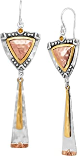 Culture Club' Drop Earrings with Swarovski Crystals in Sterling Silver, Brass, Copper
