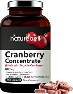 Organic Cranberry Whole Fruit Concentrate, 36, 000mg Herbal Equivalent, 90 Capsules, powerfully Supports Urinary Tract Cle...