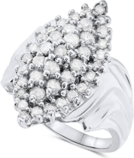 JewelryBliss 14k White Gold Diamond Marquise Cluster Cocktail Ring