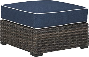 Signature Design by Ashley - Grasson Lane Outdoor Upholstered Ottoman - Blue/Brown