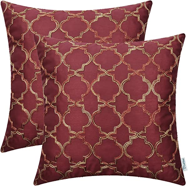 CaliTime Pack Of 2 Faux Silk Throw Pillow Covers Cases For Sofa Couch Home Decoration 18 X 18 Inches Gradient Quatrefoil Accent Geometric Chain Embroidered Deep Red