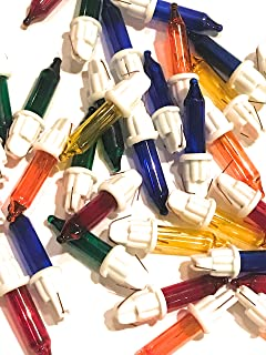 20 6 Volt Replacement Mini Light Bulbs - Multicolor Mini Christmas Lights - White Base