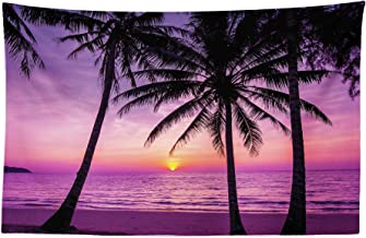 Ambesonne Ocean Tapestry, Palm Trees Silhouette at Sunset Dreamy Dusk Warm Exotic Twilight Scenery Image, Fabric Wall Hanging Decor for Bedroom Living Room Dorm, 45