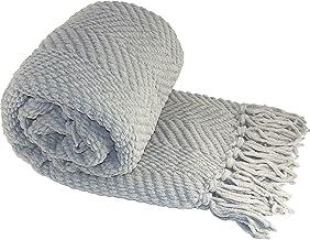 Home Soft Things Manta de Punto de Tweed, Plateado, 1.27 m x