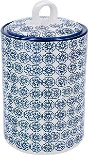 Nicola Spring Patterned Porcelain Kitchen Utensil Holder Pot - Blue Flower Print Design