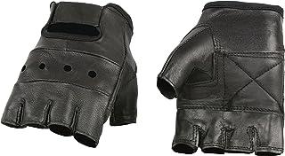 دستکش چرم مشکی Milwaukee SH216 بدون انگشت با پد پد دار - متوسط
