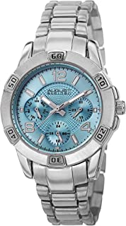 August Steiner Women's Multifunction Fashion Watch - Baby Blue Dial with Day of Week, Date, and 24 Hour Subdial on Silver Stainless Steel Bracelet - AS8143