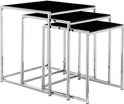 Premier Housewares - Juego de 3 mesas encastrables con Estructura cromada (Alto Brillo, 42 x 40 x 40 cm): Amazon.es: Hogar