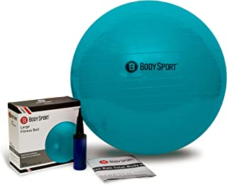 Body Sport Exercise Ball with Pump for Home, Gym, Balance, Stability, Pilates, Core Strength, Stretching, Yoga, Fitness Facilities, Desk Chairs