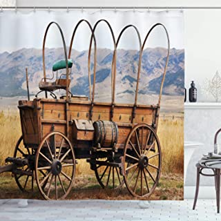 Ambesonne Western Shower Curtain, Photo of Old Nostalgic Wild West American Cart Carriage in The Farm Texas Style, Cloth Fabric Bathroom Decor Set with Hooks, 70