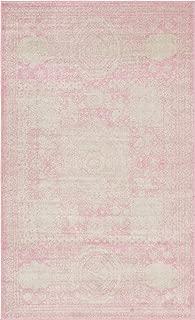 Unique Loom Bromley Collection Vintage Traditional Medallion Border Pink Area Rug (5' 0 x 8' 0)