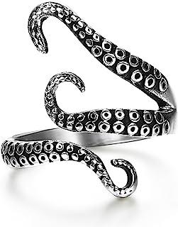 FIBO STEEL الفولاذ المقاوم للصدأ على شكل الأخطبوط خواتم للرجال النساء خمر ، الحجم 7-13
