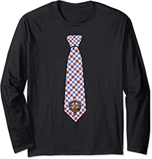 Boswell Tartan Necktie & Clan Badge Long Sleeve T-Shirt