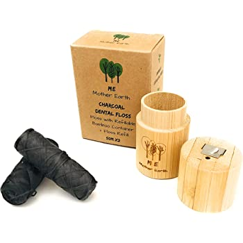 VEGAN Biodegradable Bamboo Charcoal Dental Floss with Refillable Bamboo Container | Free Refill | Natural Candelilla Wax | 55yds x2 | Peppermint Essential Oil | Eco Friendly | Zero Waste Oral Care