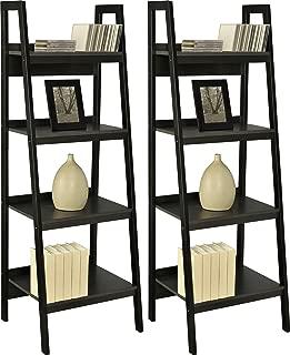 Ameriwood Home Lawrence 4 Shelf Ladder Bookcase Bundle, Black