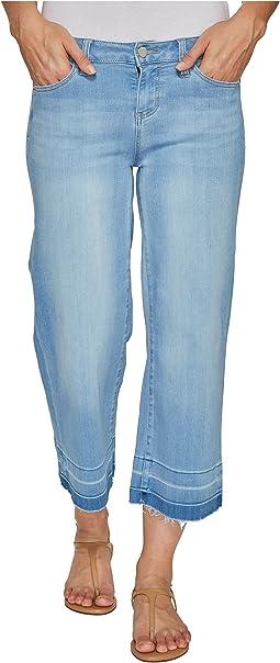 Layla Wide Leg Crop with Released Hem on Silky Soft Denim in Delton Light