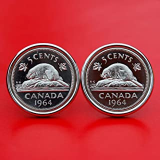 1964 Canada Beaver on Rock 5 Cents Gem BU Coin Cufflinks - Wildlife Animal - NEW