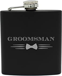 My Personal Memories Bow Tie Groomsmen Flask Gift Sets for Bachelor Party, Wedding (Groomsman, 6oz Flask Only)