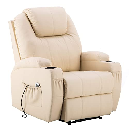 MCombo Electric Power Recliner Massage Ergonomic Chair Vibrating Heated Remote PU Leather 7050 (Creme White