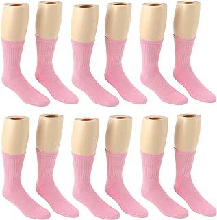 Children's Pink Crew Socks - Breast Cancer Awareness - 12 Pair Pack