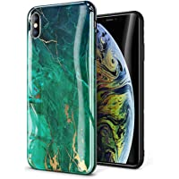 Gviewin Marble Ultra Slim Thin Glossy Soft TPU Rubber Gel Silicone iPhone Xs MAX Case (Green/Gold)