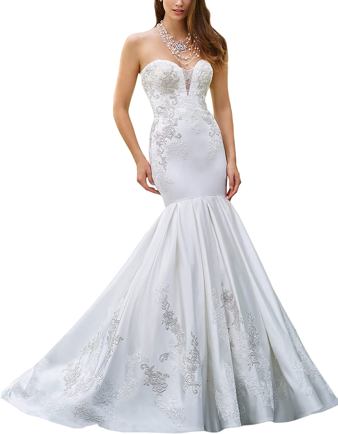 Doramei Women's Sheath Satin Lace Appliques Backless Sweetheart Empire Wedding Dress for Bride Bridal Gowns