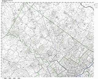 Working Maps Montgomery County, Pennsylvania PA Zip Code Map Not Laminated