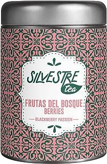 FRUTAS del BOSQUE Tea Pyramid, Blackberry PASSION tea, 30 Premium Infuser Teabags, Antioxidant All Natural, Presentation Gift Spanish Tin, Te Verde Menta