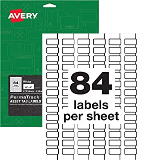 Avery PermaTrack Durable White Asset Tag Labels, 1/2