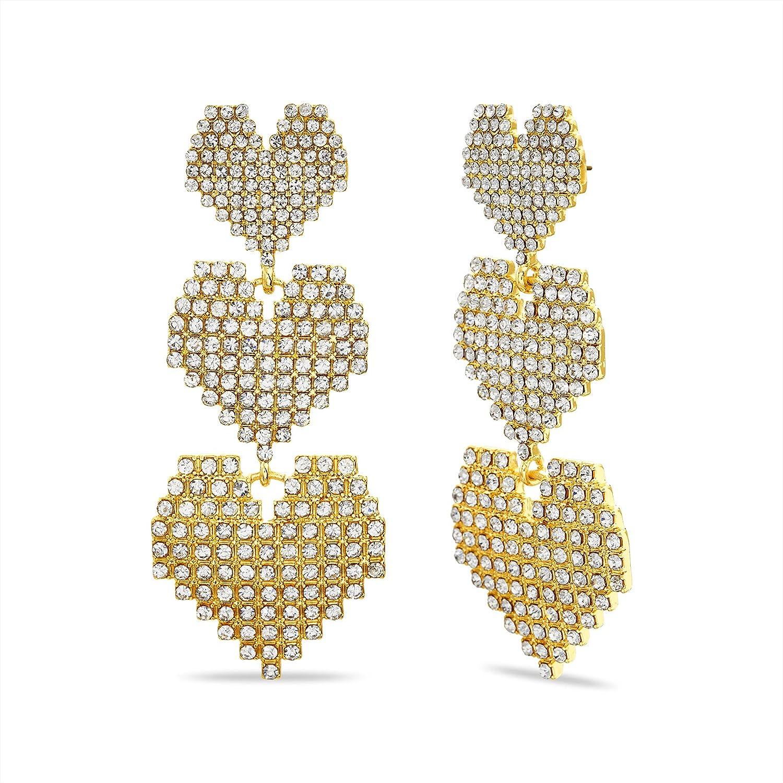 Steve Madden Pave Rhinestone Yellow Triple Heart Graduated Heart Drop Dangle Earrings for Women