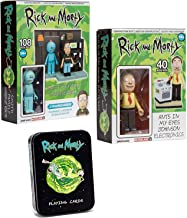 Tin Galactic Pack Rick and Morty Figures 3 Pack Characters Cards Minis Smith Family Garage Rack + Ants in My Eyes Johnson Electronics Works Toys Construction Playing Cards Bundle 3 Items