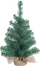 Gerson Small Christmas Tree Indoor Tabletop 18 Inch Pine Tree with Burlap Base Miniature Artificial Green with Lots of Branches for Decorations and Lights