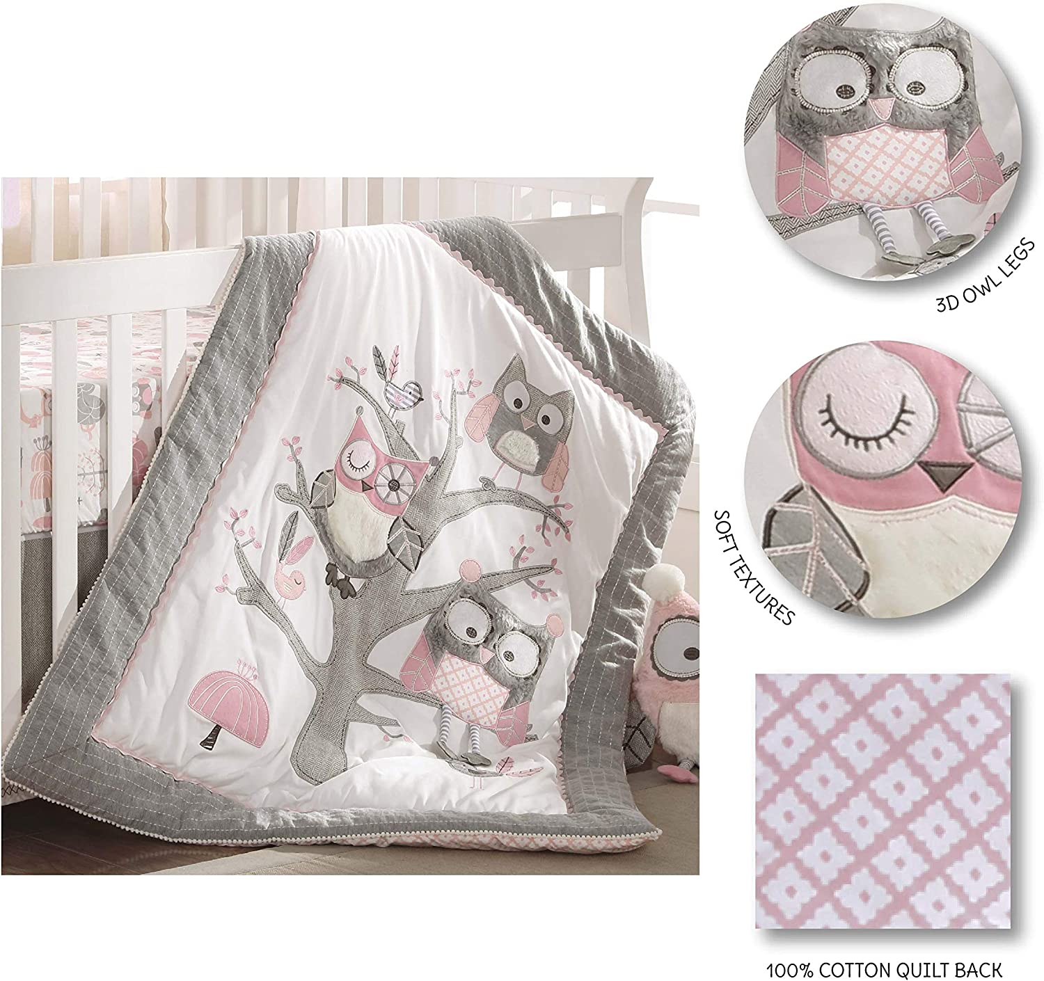 Dr Levtex Baby Night Owl Pink 5pc Q Wall Decal DS Fs